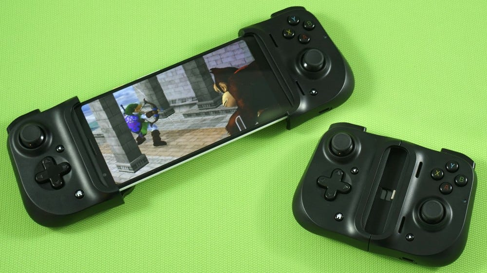 Kishi controller, open and folded.
