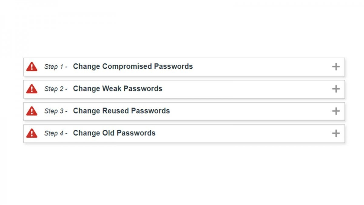 A LastPass provided four step process for changing passwords, including compromised passwords.