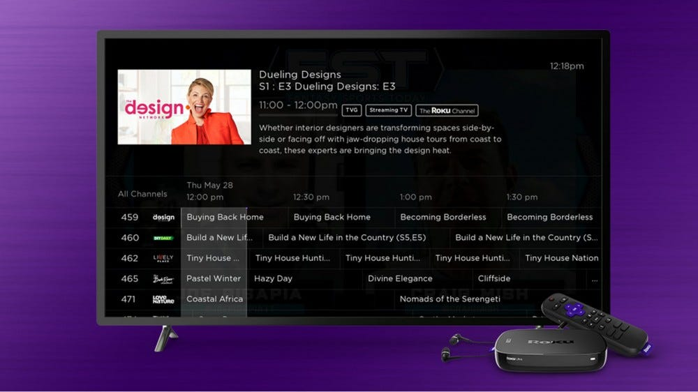 A Roku TV with a TV Guide like interface.