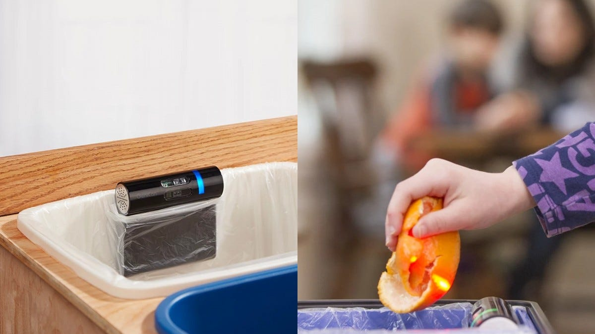 Screenshots from the GeniCan website. These photos show the device fixed on the end of a garbage can, pointing its barcode scanner in the air.