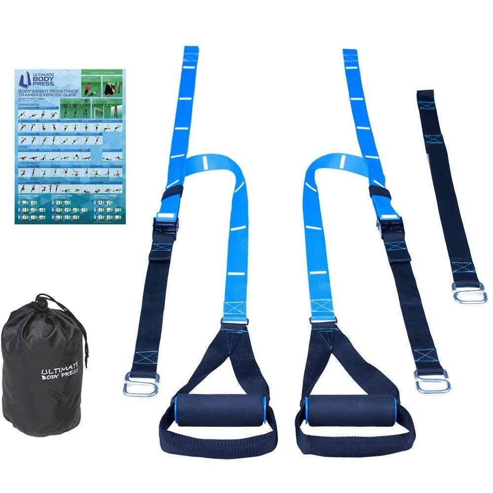 Set of exercise training bands with handles, carrying bag, and poster