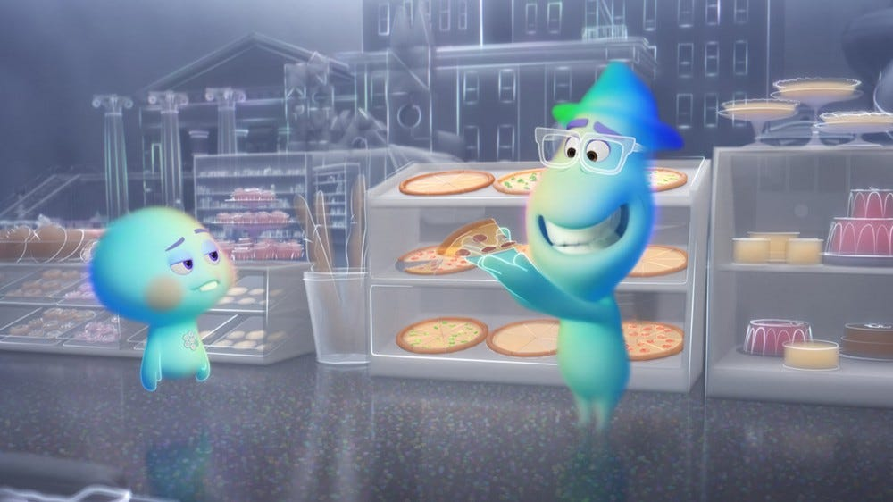 Two ghosts, attempting to eat a pizza.