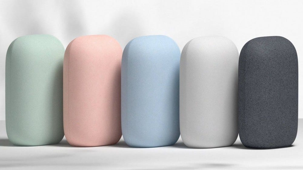 Five Nest Audio speakers in different colors lined up