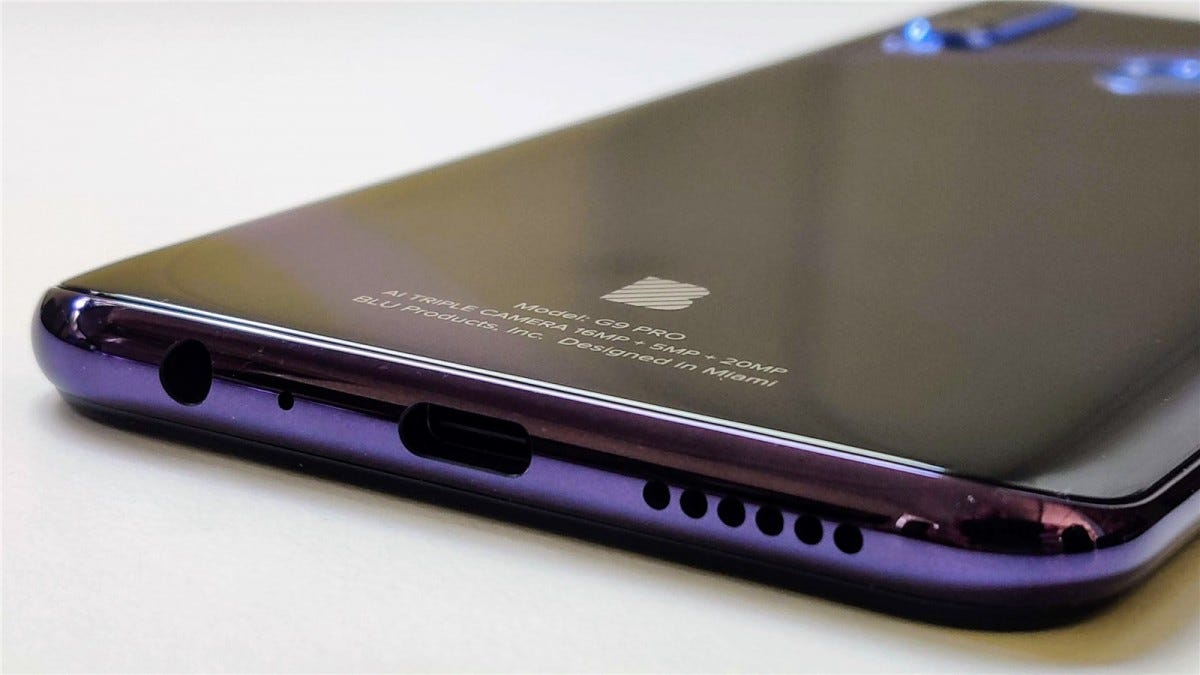 The headphone jack and USB-C port on the Blu G9 Pro