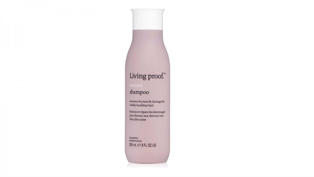 A bottle of Living Proof Restore Shampoo.