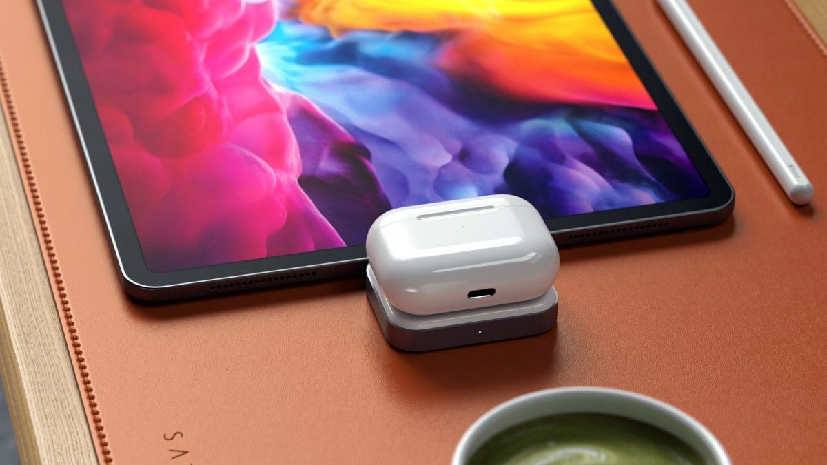 A photo of the AirPods on the Satechi wireless charging dock.