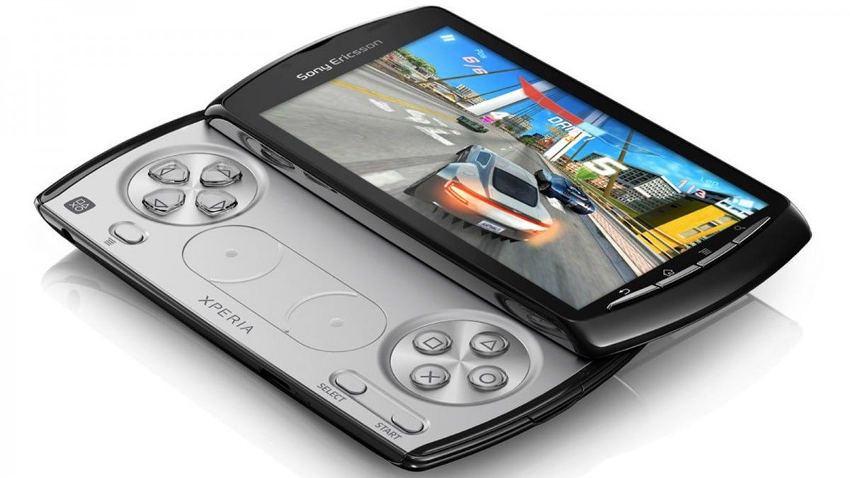 Sony Ericsson Xperia Play phone slid open with a game on its screen.