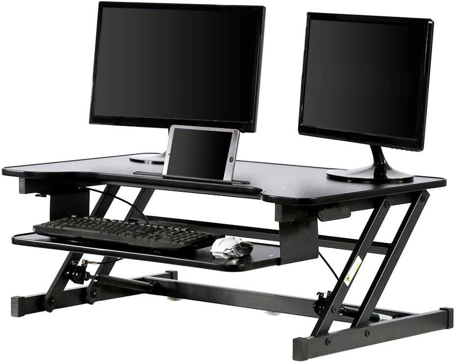Sit-to-stand desk adapter.