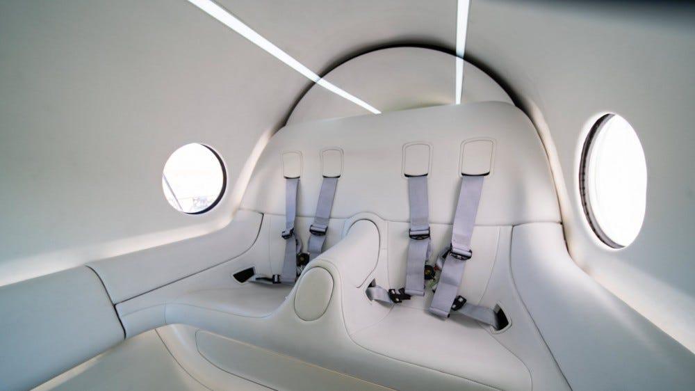 A closeup of the hyperloop pod seats