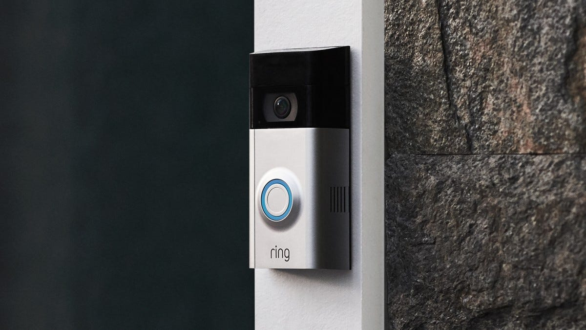 Ring Video Doorbell 2 on a door frame.