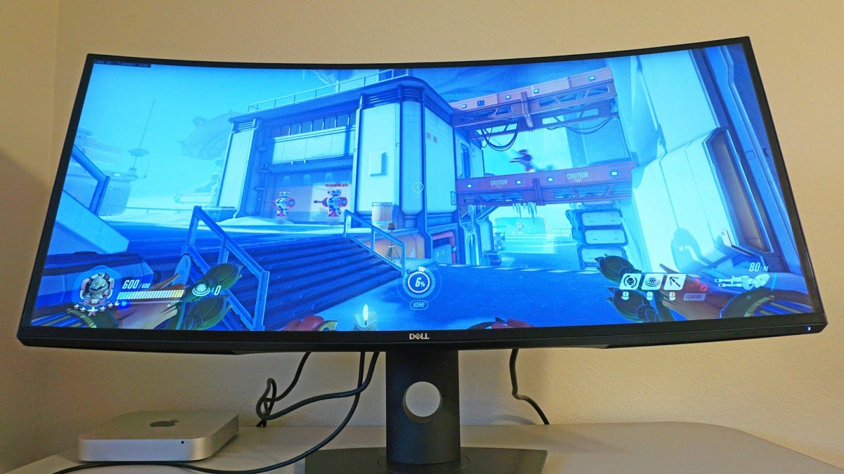 Monitor showing Overwatch.