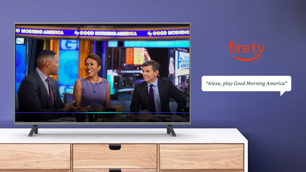 A Fire TV playing 'Good Morning America.'