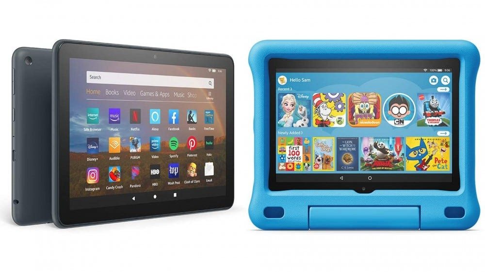 A photo of the Fire HD 8 Plus and Fire HD 8 Kids Edition.