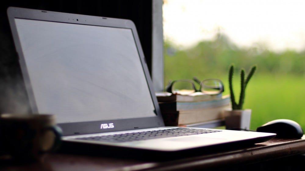 Asus latop on the desktop