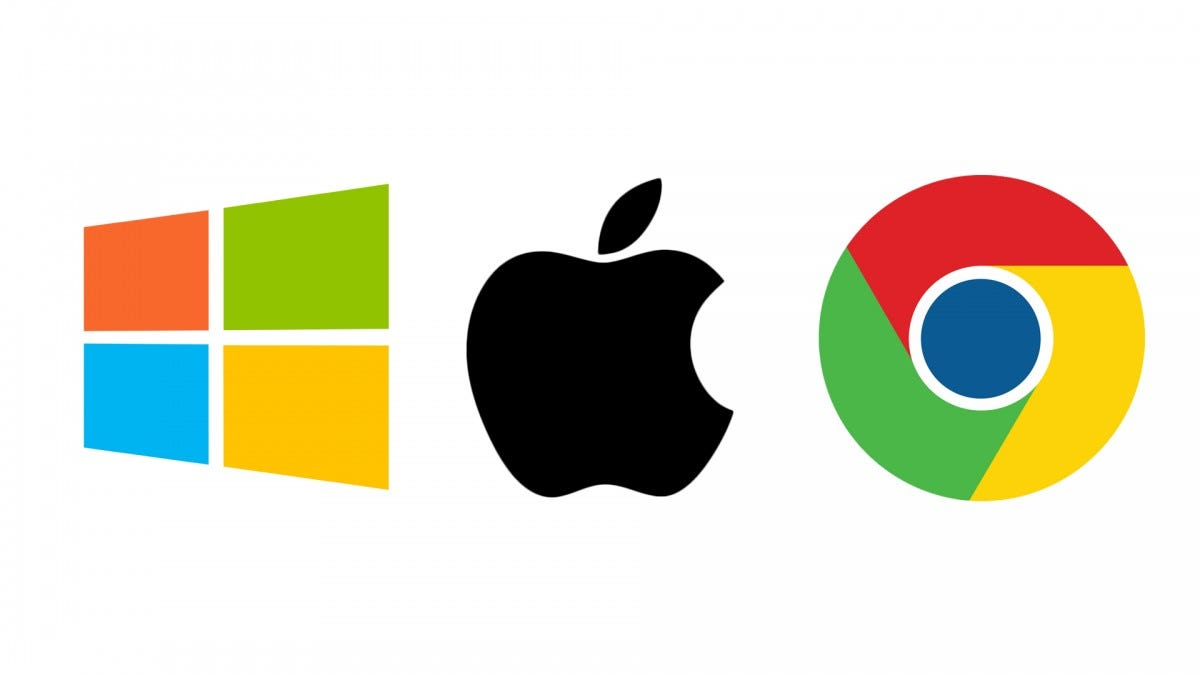 The Windows, macOS, and Chrome OS logos.