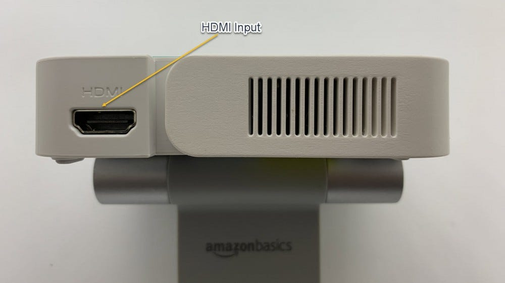 Image showing HDMI input on left side of projector.
