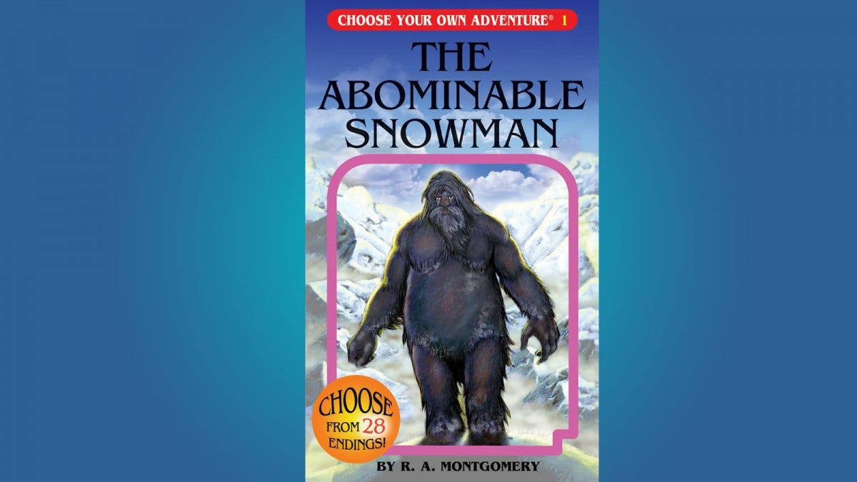 The Abominable Snowman CYOA book