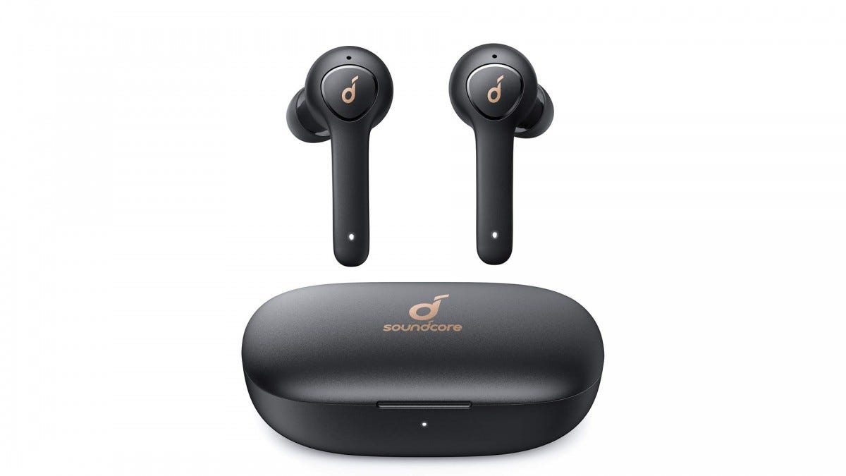 The Anker Soundcore Life P2 Earbuds above their closed charging case.