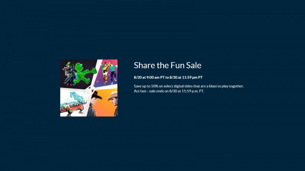 Nintendo's Share the Fun Sale details