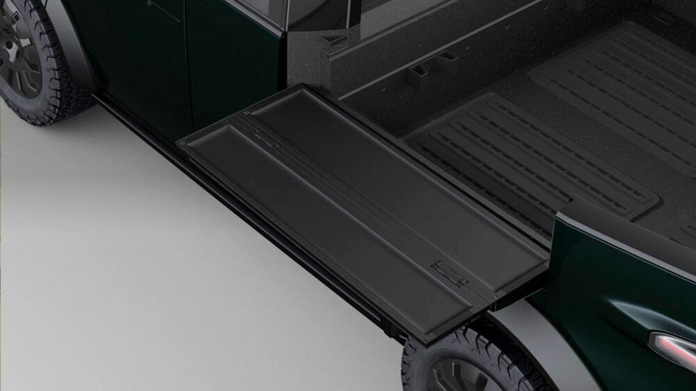 Fold-out flaps on the side of a pickup bed.