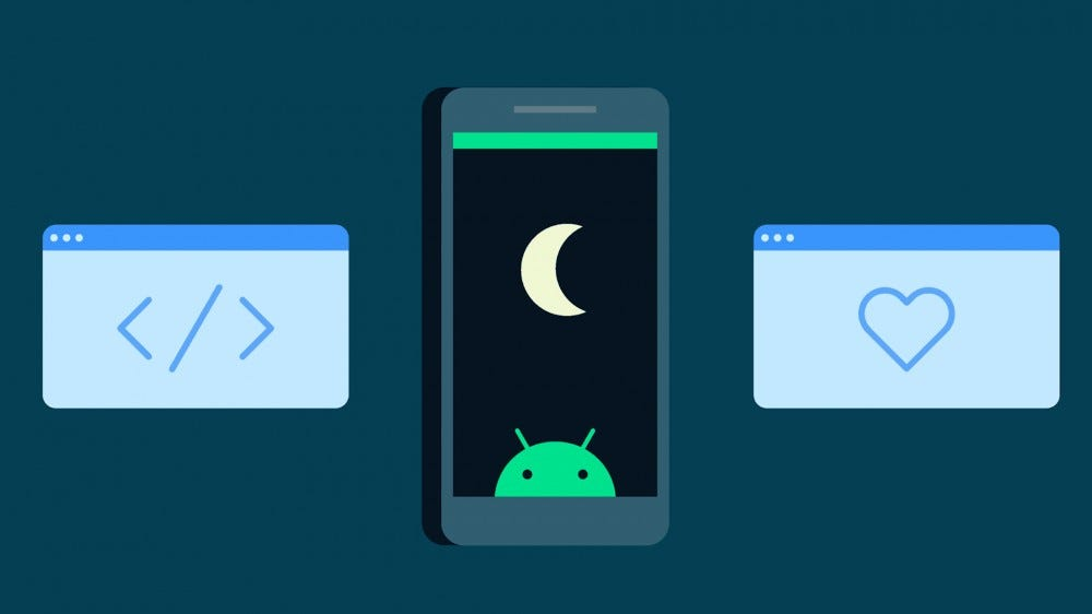Graphic of smartphone with moon and Android alongside computer screens with code brackets and a heart
