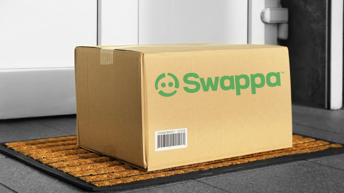 A photo of a shipping box with the Swappa logo.