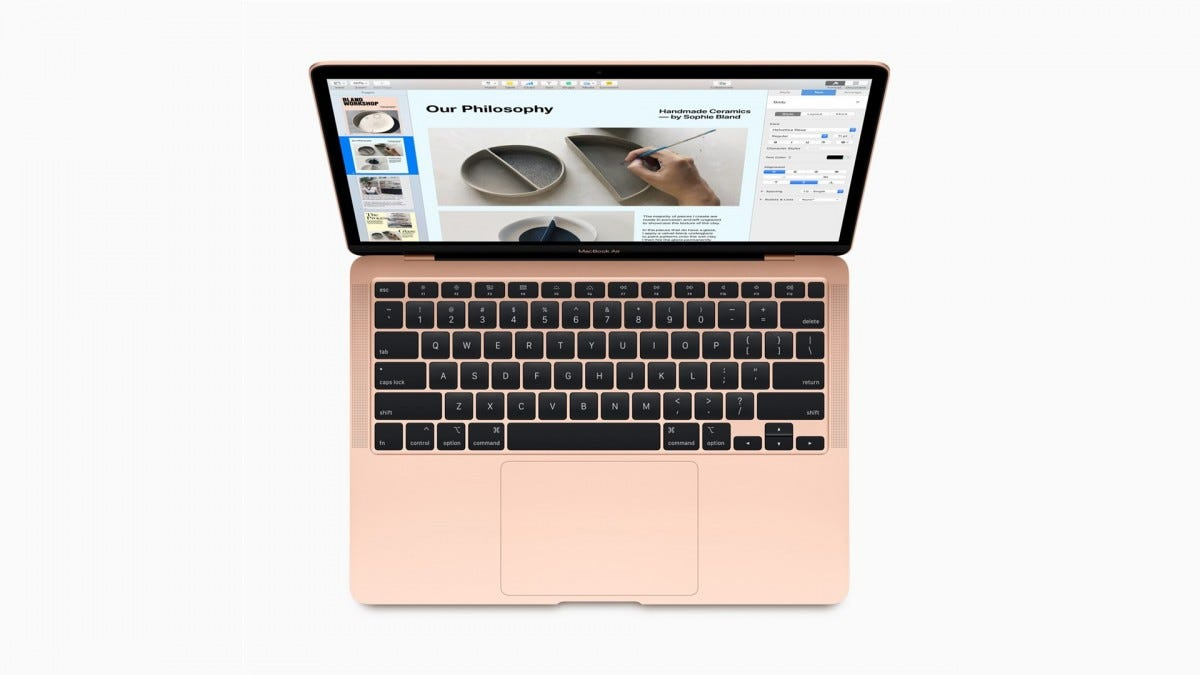 A top-down view of the new MacBook Air showing the keyboard