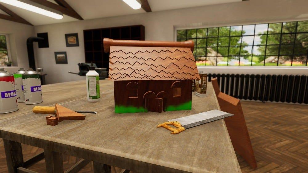 A videogame screenshot of an in-progress Birdhouse build