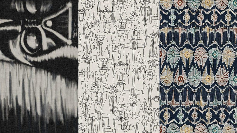 Three of the Star Wars-themed rug patterns from Ruggables, including Darth Vader and some ships
