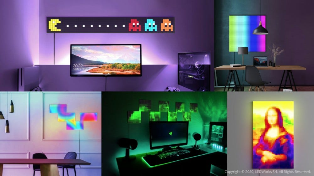 LED squares, forming mosaic-like pictures of the Mona Lisa and Pac-Man