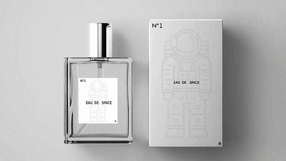 Eau De Space bottle and box.