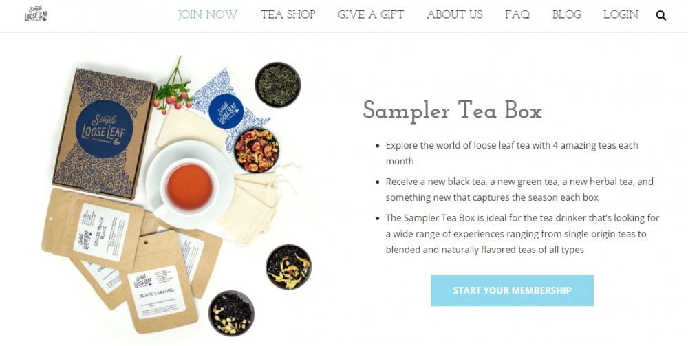 Simple Loose Leaf tea subscription box tea leaves sealed tea bags reusable tea filters