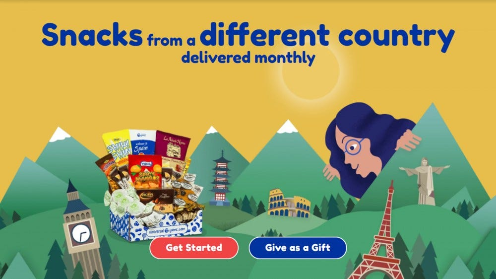 Universal Yums homepage, with graphic of international snacks
