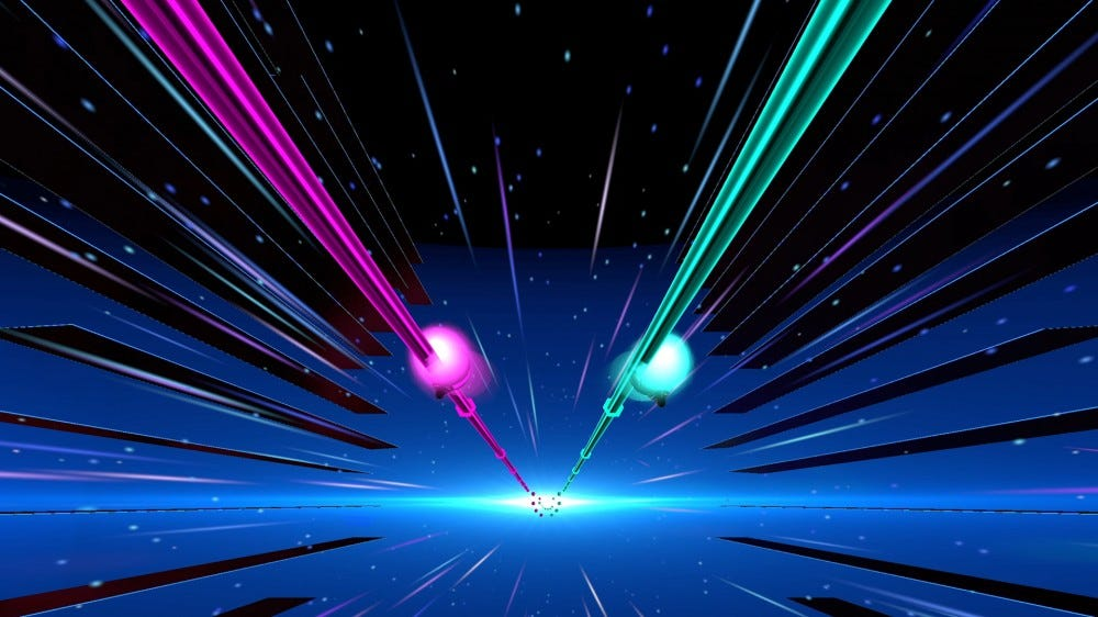 Two light rails in purple and green flying down a starry expanse