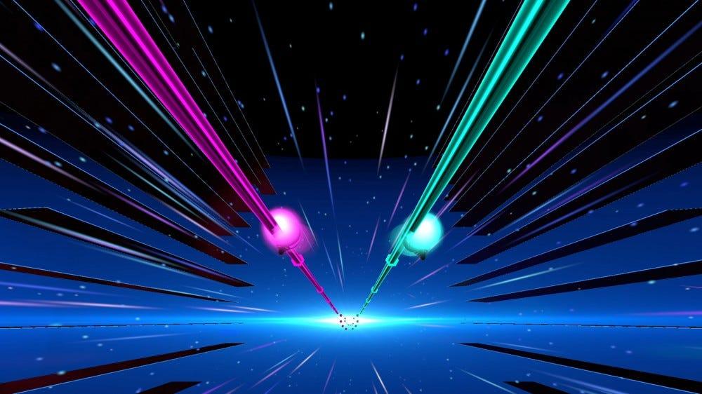 Két lila és zöld sín repül le egy csillagos kiterjedésen