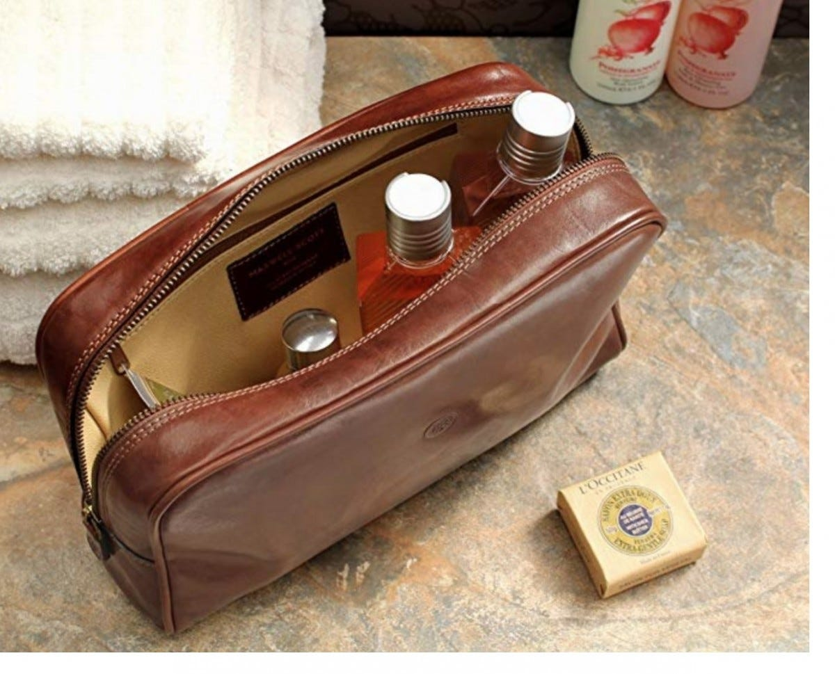 A Maxwell Scott Italian leather Dopp kit