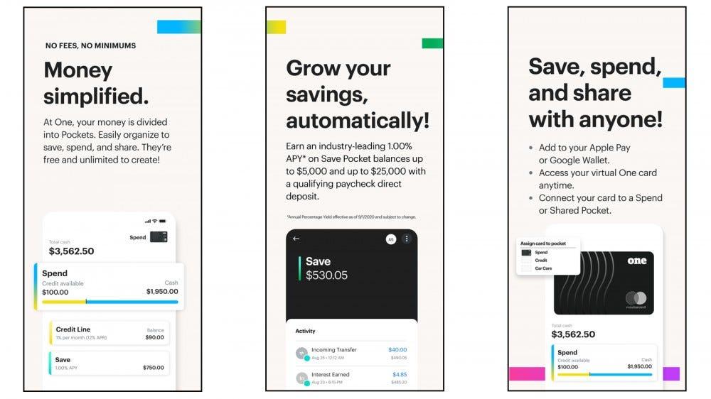 One Finance app with savings options