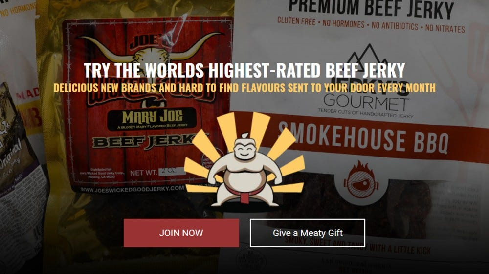 SumoJerky website with signup options in front of treats