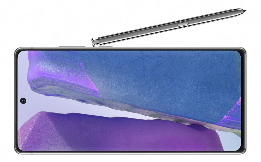 Galaxy Note 20 on the side