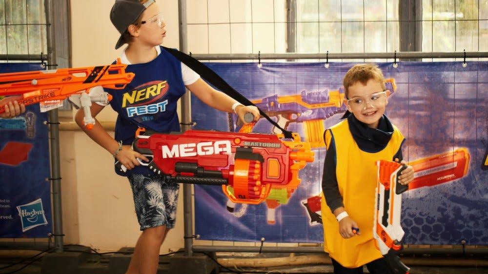 Boys with NERF guns at playground