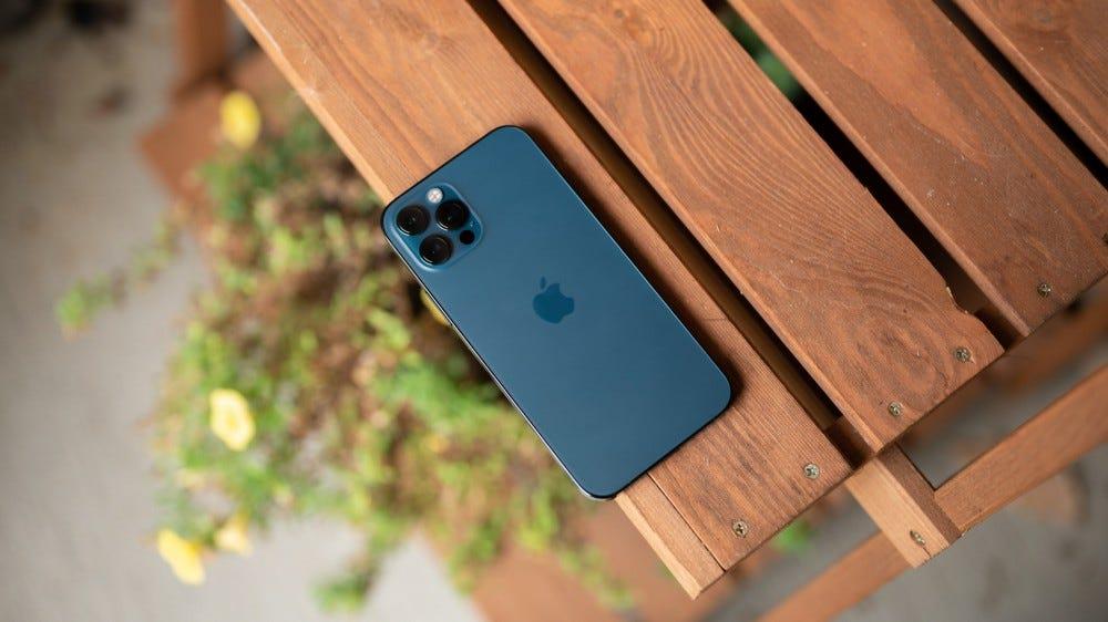 iPhone 12 Pro laying on shelf