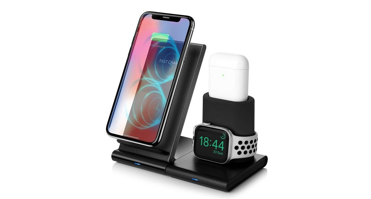 An iPhone, Apple Watch, and AirPods on a Nexgadget 3-in-1 Charging Stand.