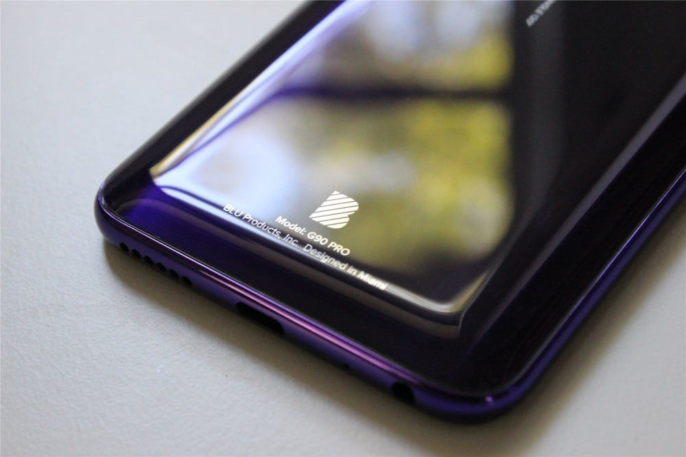 The bottom of the BLU G90 Pro showing the BLU logo