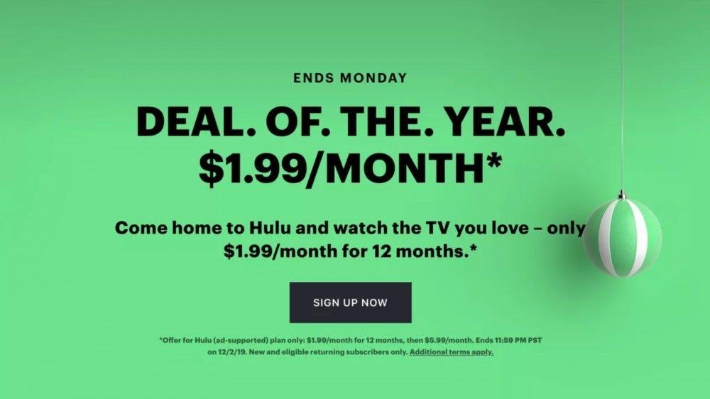 Hulu Black Friday sale promotional page