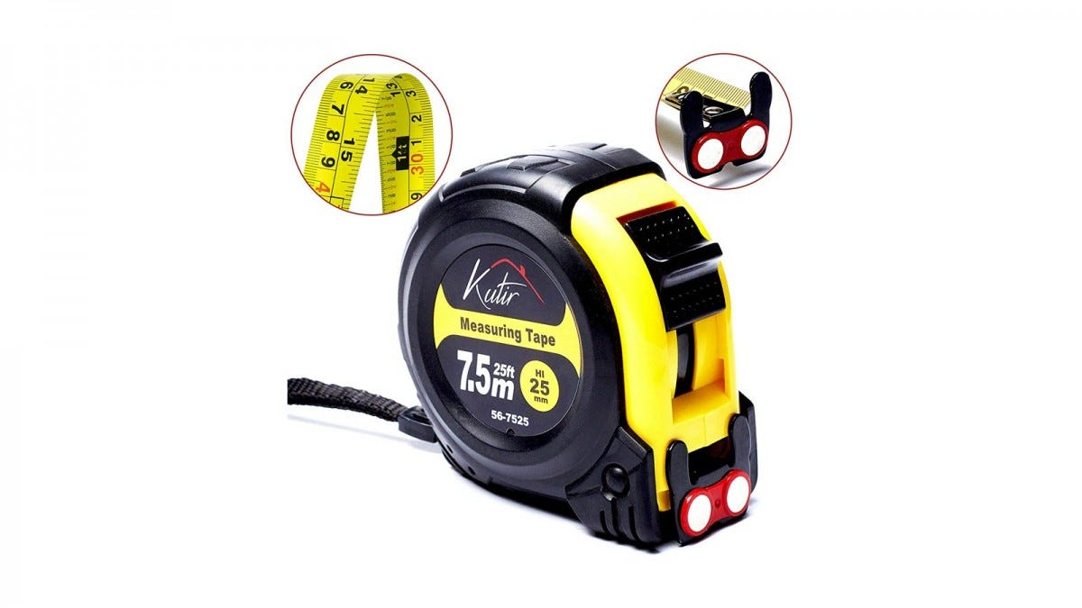 The Kutir yellow and black tape measure, with two inset images of the magnetic catch and both sides of the ruler.
