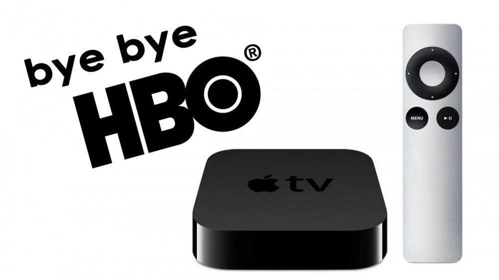 A photo of the Apple TV 2 and the HBO logo.
