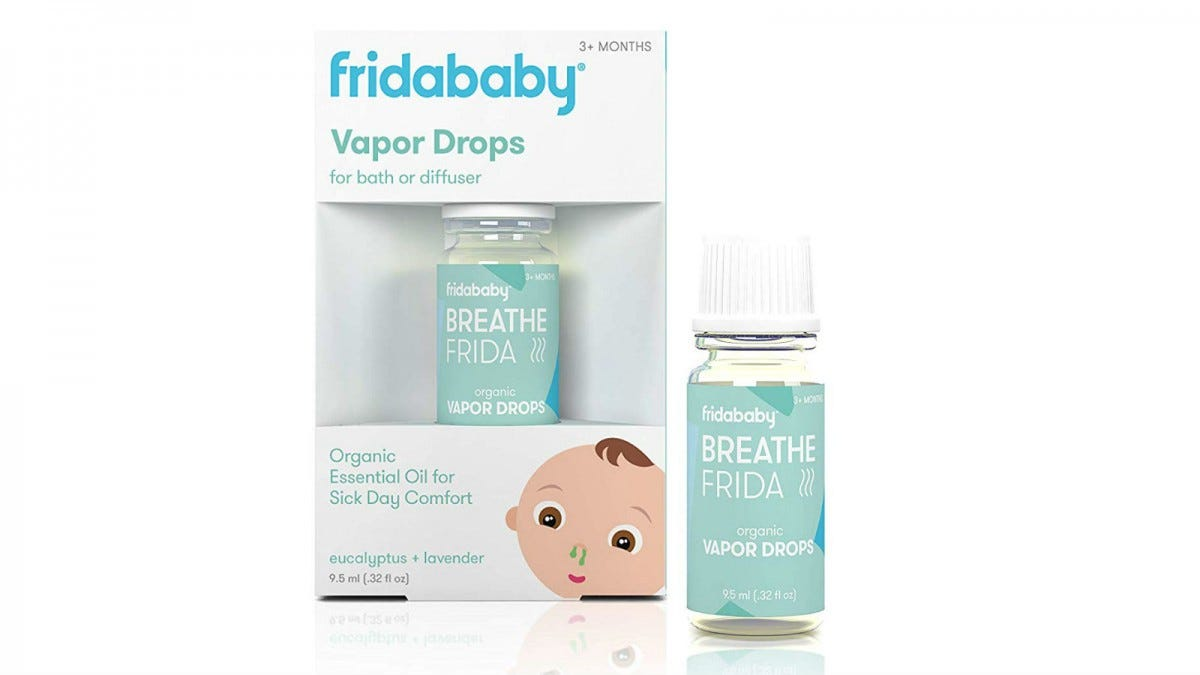 One bottle of fridababy Breathefrida Vapor Drops in the packaging and one out of the packaging.