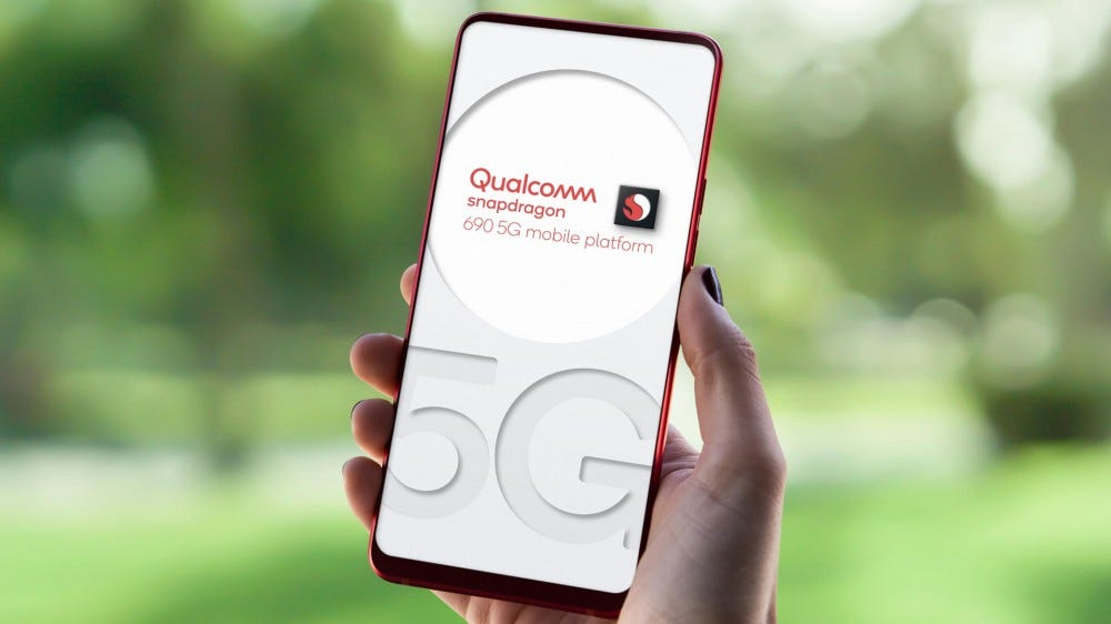 A phone with the Qualcomm Snapdragon 5G logo.