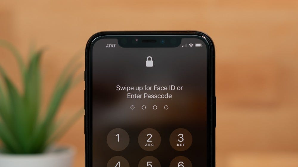 Showing the passcode screen on an iPhone