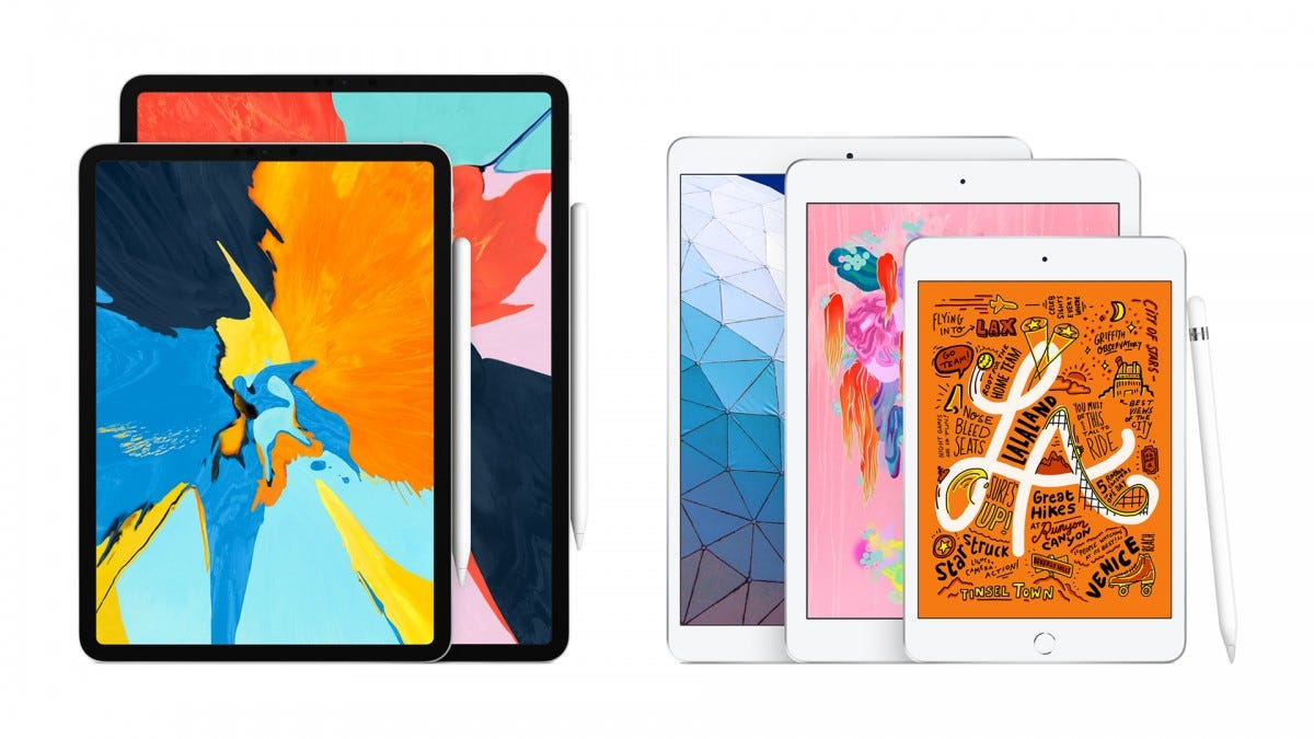A lineup of Apple's different iPads.